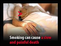 Avvertenze grafiche su pacchetti in Inghilterra: il fumo può causare una morte lenta e dolorosa