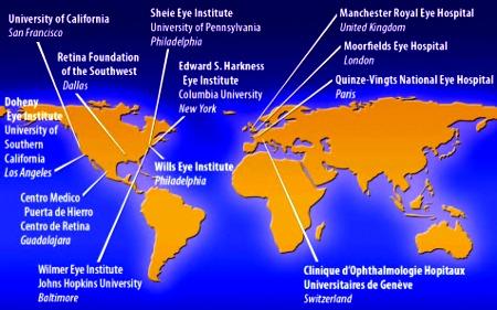 Cliniche e ospedali nel mondo dove si impianta la retina elettronica (Argus II). Oltre a questi, attualmente anche l'Australia sta sperimentando l'occhio bionico