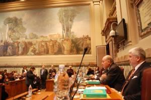 Presentazione del Rapporto Censis 2009 a Roma (da destra V. Fini e G. De Rita, Presidente del Censis)