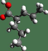 La molecola dell'acido valproico (che contiene 5-8 atomi di carbonio)