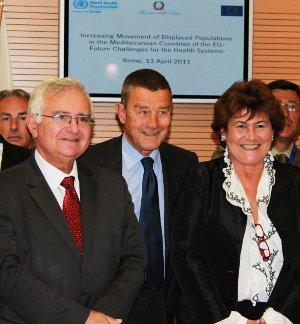 Da sinistra John Dalli (Commissario Ue per la Salute), Ferruccio Fazio (Ministro della Salute) e Zsuzsanna Jakab (Oms Europa)