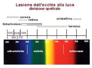 Possibili lesioni delle diverse strutture oculari causate da una fonte di energia radiante (sole o altro) (Fonte: Tuttosanità-Pugliasalute)