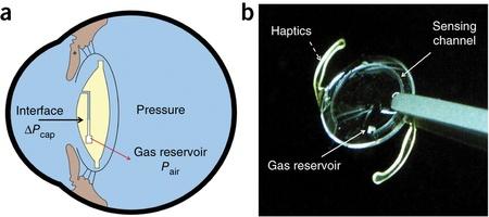 Immagine: lentina high-tech basata su un microfluido (Nature)