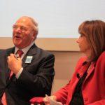 avv. Giuseppe Castronovo (Presidente IAPB Italia onlus) e Manuela Lucchini (TG1) alla presentazione della Campagna di prevenzione delle maculopatie a bordo di Unità mobili oftalmiche (Roma, 29 ottobre 2014)