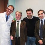 Da destra: T. Melchiorre (IAPB Italia onlus), M. Giusti, M. Corcio (vicepresidente IAPB Italia onlus) e F. Amore (Polo Nazionale Riabilitazione Visiva)