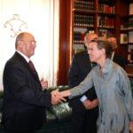 Senato della Repubblica: avv. Giuseppe Castronovo, Presidente della IAPB Italia onlus, col Ministro della Salute Beatrice Lorenzin (Biblioteca G. Spadolini)