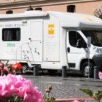 Unità mobile oftalmica della IAPB Italia onlus in p.za S. Silvestro (Roma, 29 maggio-1 giugno 2013) per controlli oculistici gratuiti finalizzati alla prevenzione della retinopatia diabetica