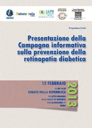 Retinopatia diabetica: campagna di presentazione, locandina