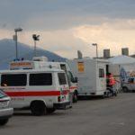 10 aprile 2009: Emergenza terremoto in Abruzzo. Unità mobile oftalmica della IAPB Italia onlus all'Aquila