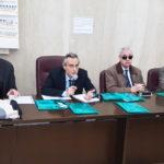 Il prof. Alessandro Lambiase (Università Sapienza di Roma), accanto al prof. Filippo Cruciani. Sulla destra il dott. Michele Corcio (Vicepresidente IAPB Italia onlus)